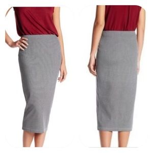 Sanctuary Houndstooth Midi Pencil Skirt